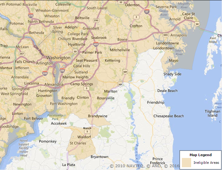 Prince Georges County Maryland USDA Eligibility - Usda rural eligibility map